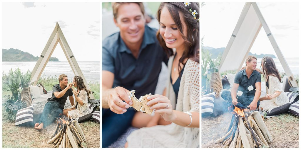 picnic engagement session smores