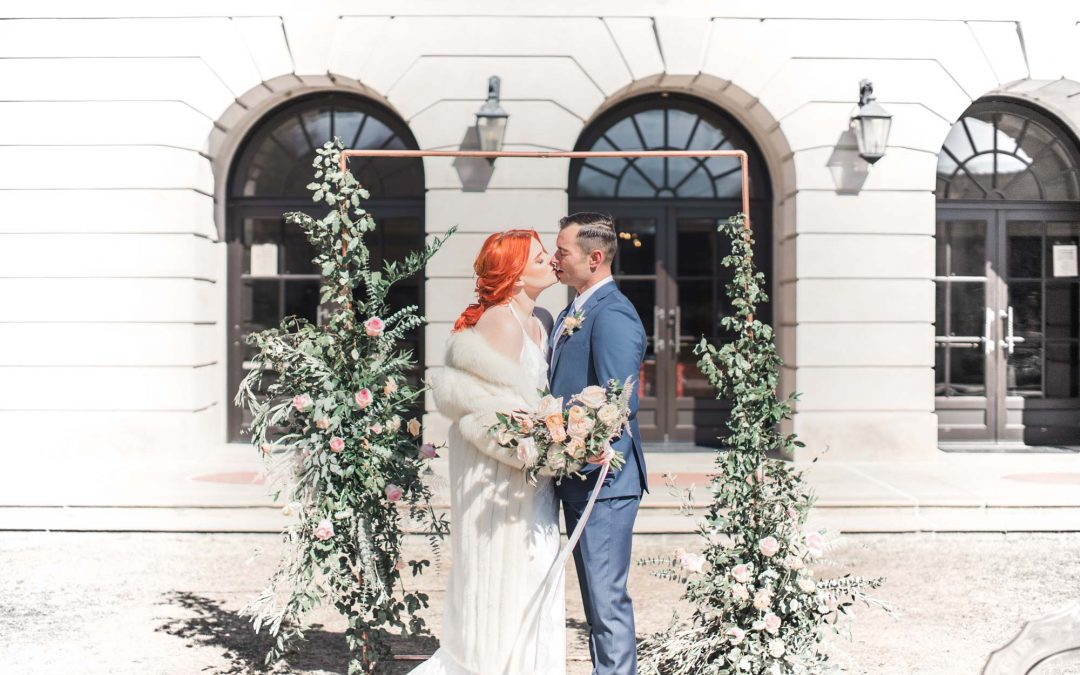 Downtown Winter Wedding in Harsh Light