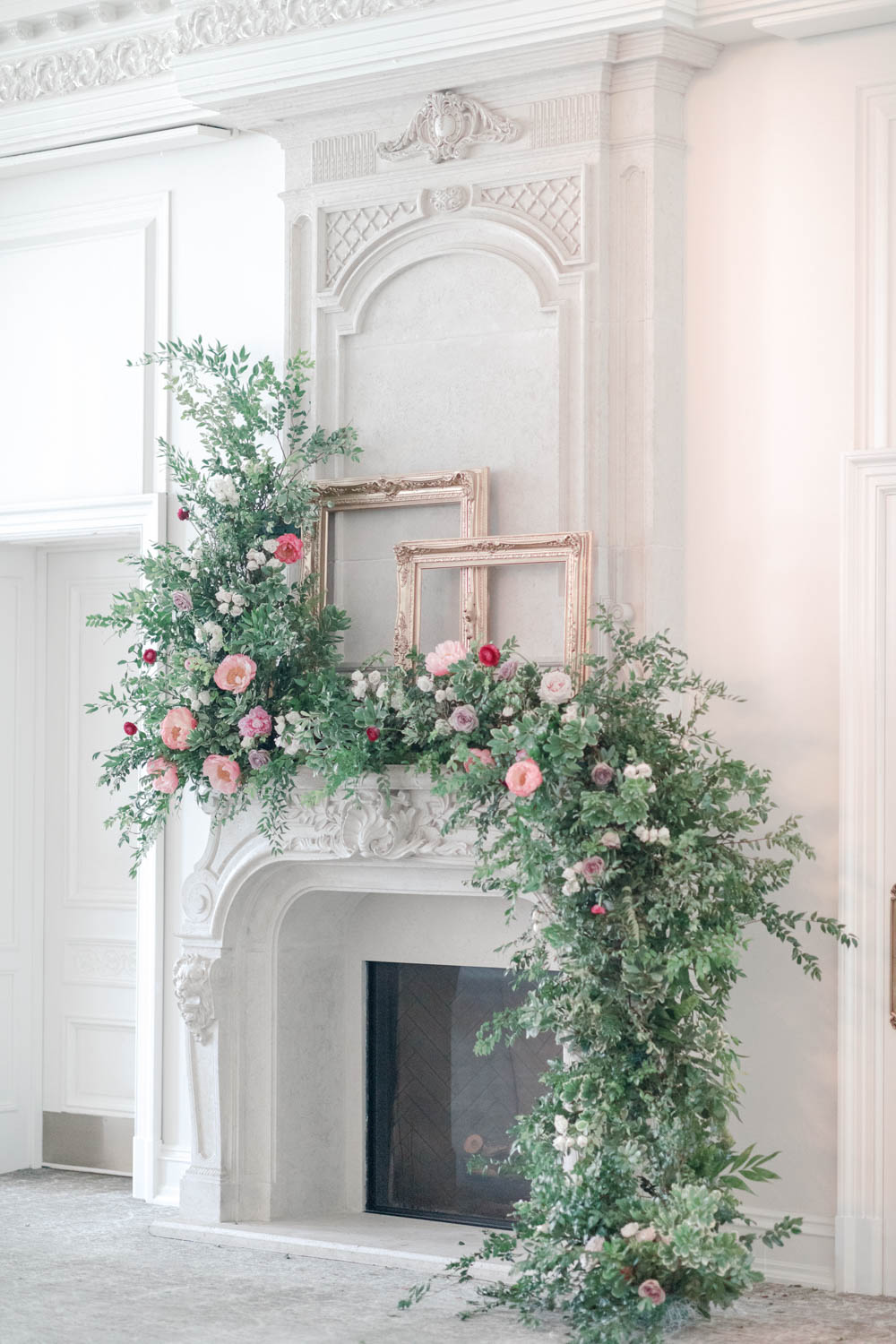 gorgeous floral fireplace wedding ceremony
